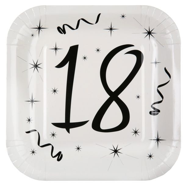 achat 10 assiettes anniversaire 18ans mariage anniversaire 1001 deco table. Black Bedroom Furniture Sets. Home Design Ideas
