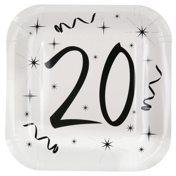 vente 10 assiettes anniversaire 20ans vaisselle 1001. Black Bedroom Furniture Sets. Home Design Ideas