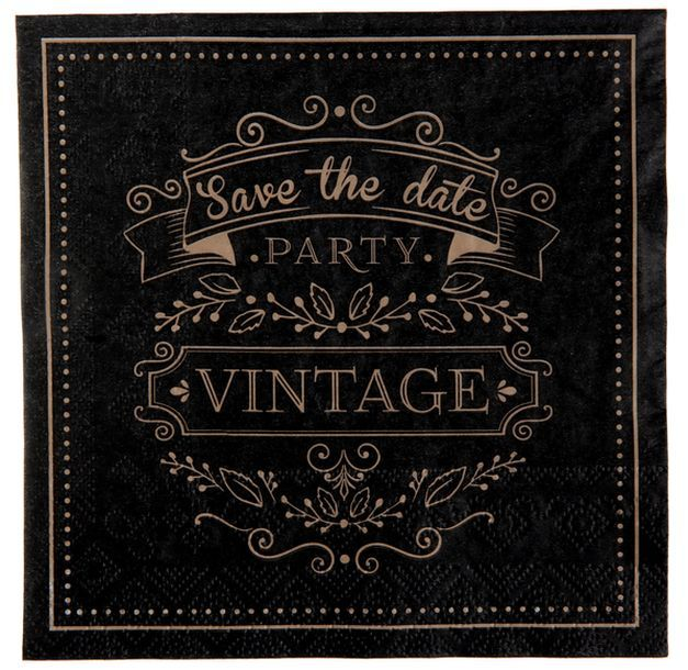 achat 20 serviettes en papier vintage coloris noir et kraft mariage anniversaire 1001 deco table. Black Bedroom Furniture Sets. Home Design Ideas