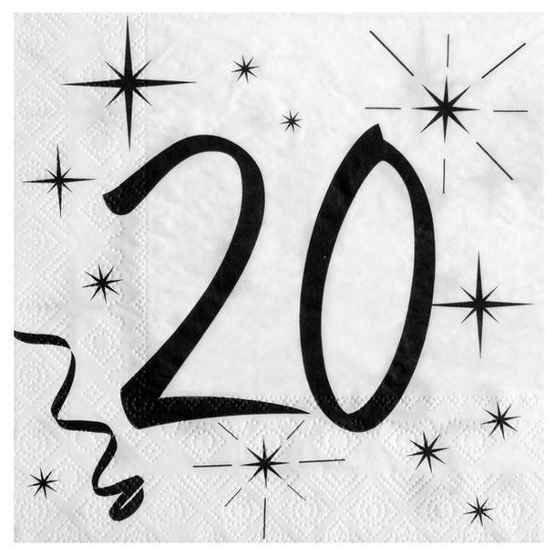 acheter 20 serviettes anniversaire 20ans mariage anniversaire 1001 deco table. Black Bedroom Furniture Sets. Home Design Ideas