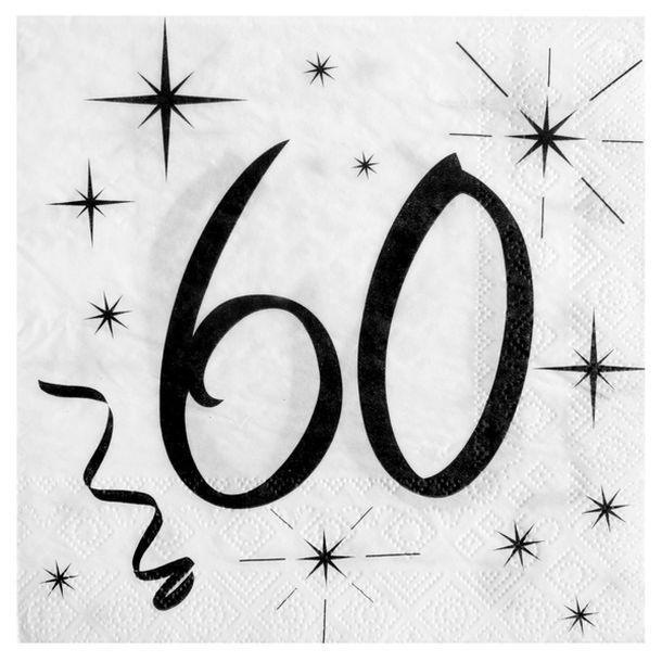 Acheter 20 serviettes anniversaire 60ans nappes serviettes chemins de table 1001 deco table - Clipart anniversaire 60 ans ...