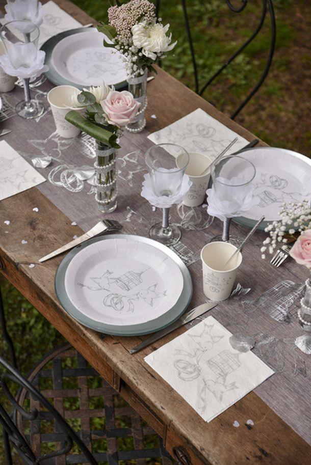 vente 20 serviettes en papier mariage blanches d cor alliances mariage anniversaire 1001 deco. Black Bedroom Furniture Sets. Home Design Ideas