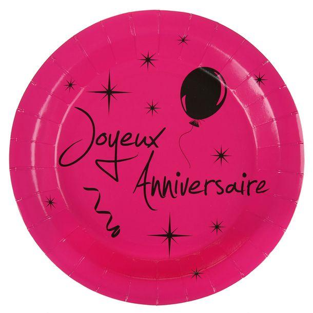 acheter assiette fuschia joyeux anniversaire vaisselle 1001 deco table. Black Bedroom Furniture Sets. Home Design Ideas
