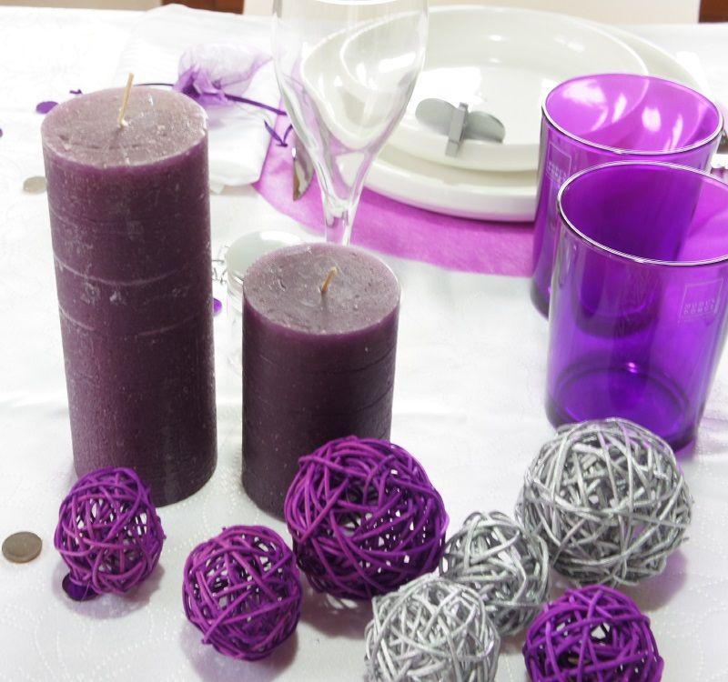 acheter assortiment de boules de rotin violette d coration de table 1001 deco table. Black Bedroom Furniture Sets. Home Design Ideas