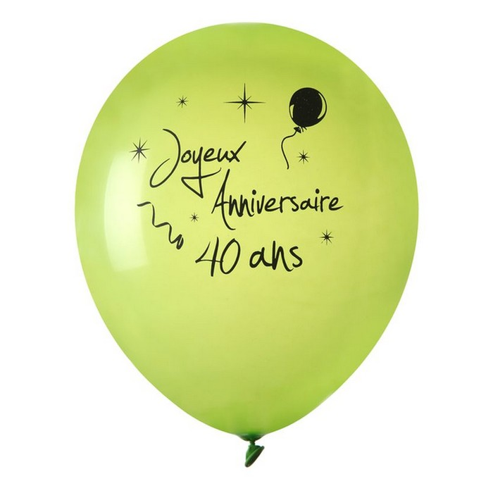 achat ballon joyeux anniversaire vert anis 40 ans x 8. Black Bedroom Furniture Sets. Home Design Ideas