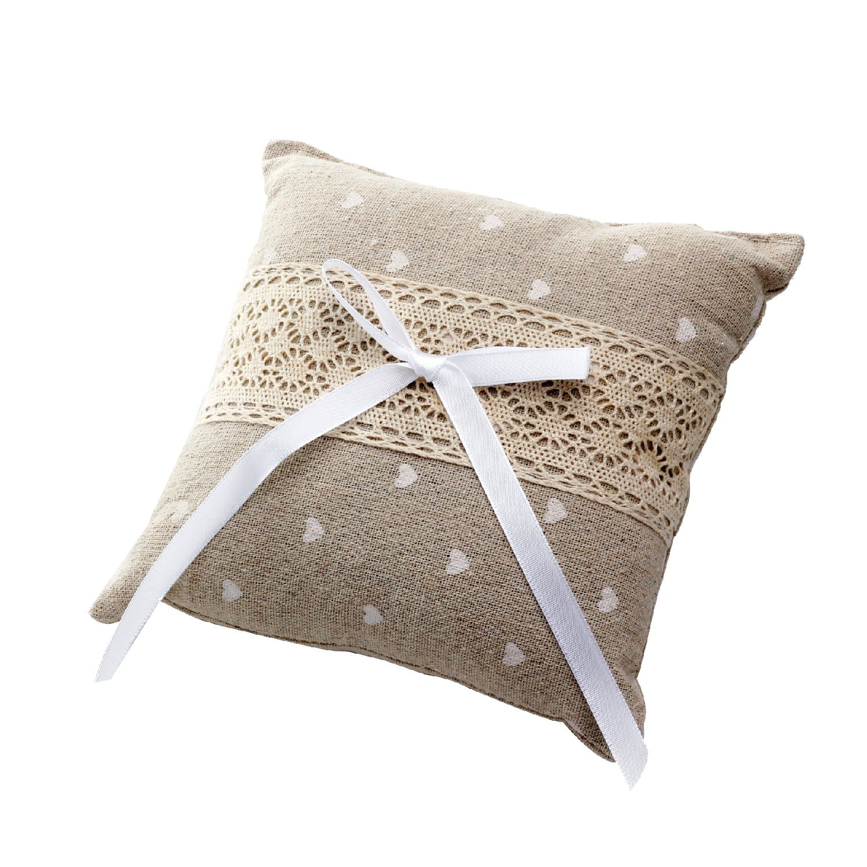 vente coussin d 39 alliances c urs blanc et dentelle mariage. Black Bedroom Furniture Sets. Home Design Ideas