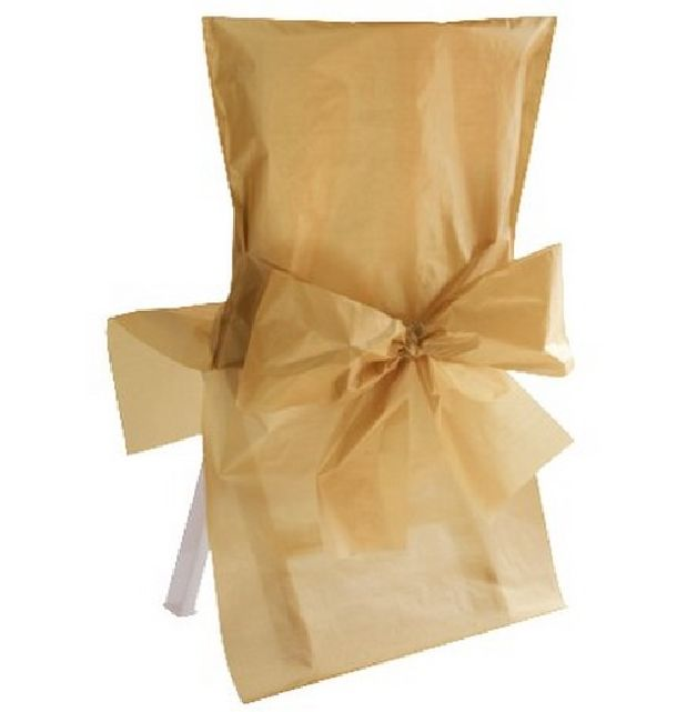 vente housse de chaise mariage avec noeud or en satin tables 1001 deco table