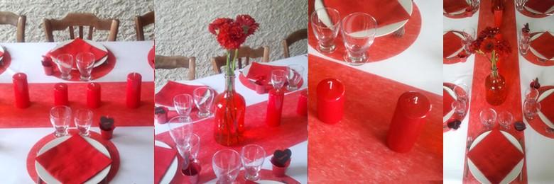 f te des m res tout en rouge nappe polyester blanche plat bougie en verre bouteille vase. Black Bedroom Furniture Sets. Home Design Ideas