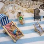 Decoration de table sur le th�me de la plageet de la mer, ideal pour feter un depart en retraite.