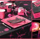 Deco de table anniversaire fuschia et noir | 1001 Deco table