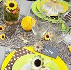 deco de table champetre, tournesol, papillons mini brouettes..
