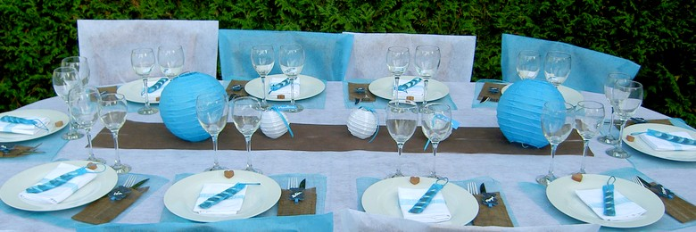 Deco table bapteme gris et bleu - Idee decoration bapteme garcon ...