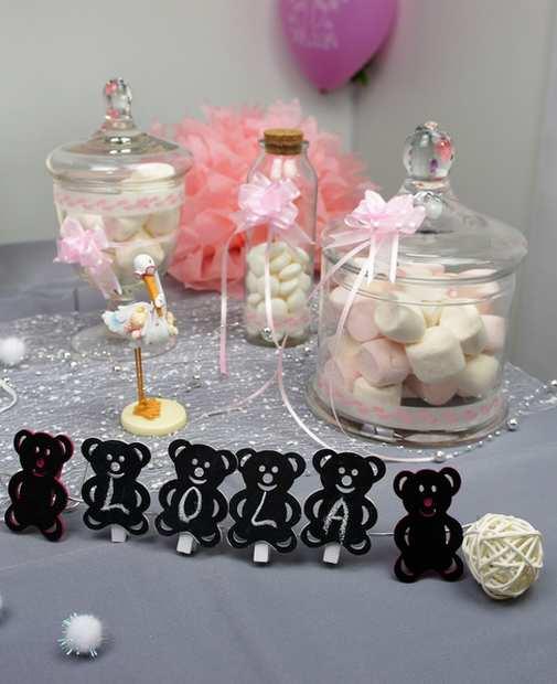Marque place et candy bar pour bapteme fillette | 1001 deco table