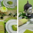 Decoration de table sur le theme zen et nature.