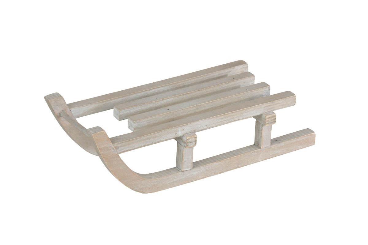Luge En Bois Deco : Luge bois blanchi 27cmx10cmx8cm