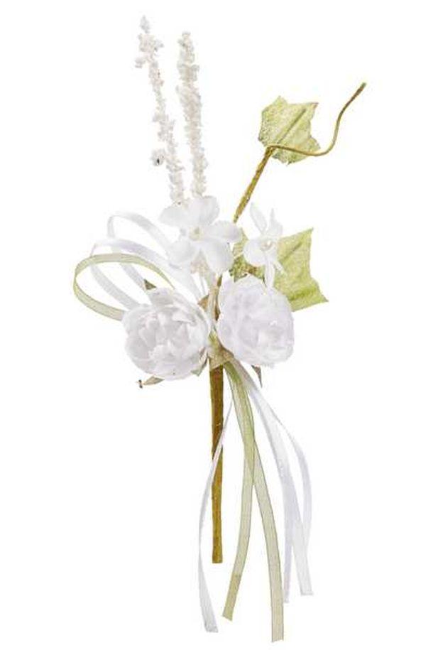 Achat mini bouquet de fleurs tissu blanc 15cm d coration de table 1001 deco table - Bouquet de fleurs pour table mariage ...