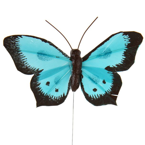 Achat papillon bicolore sur tige turquoise x6 d coration de table 1001 deco table - Papillon sur tige ...