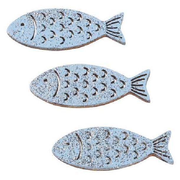 Poisson en bois 4cm bleu clair x6 hbf 3270306 d coration for Deco poisson bois