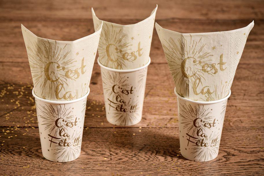 Achat serviette c 39 est la f te ivoire mariage anniversaire 1001 deco table - Deco de table serviette ...