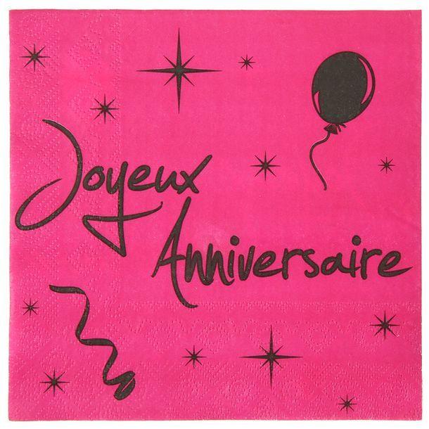Acheter serviette fuschia noire joyeux anniversaire for Nappe et chemin de table en papier