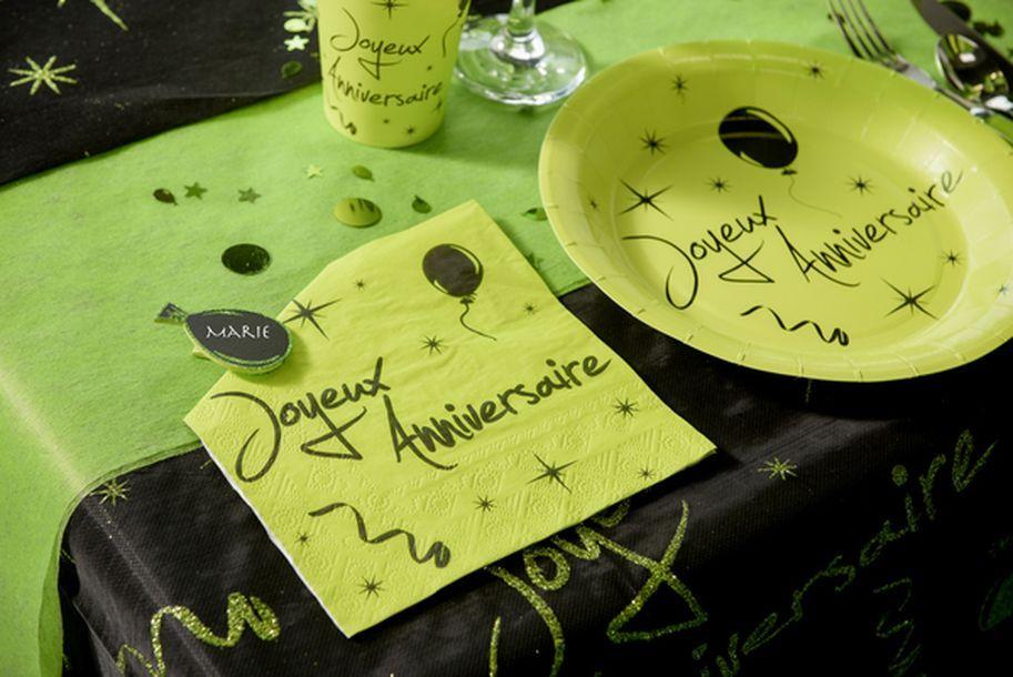 vente serviette vert anis noire joyeux anniversaire mariage anniversaire 1001 deco table. Black Bedroom Furniture Sets. Home Design Ideas