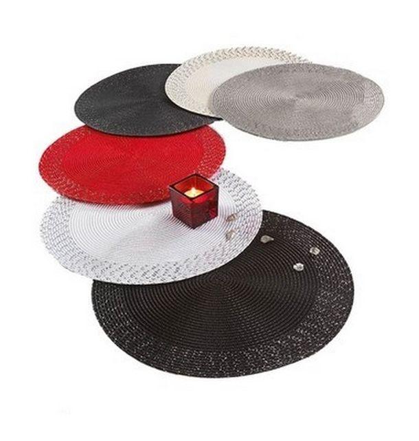 Set de table tress rond noir clat argent d10 for Set de table rond noir