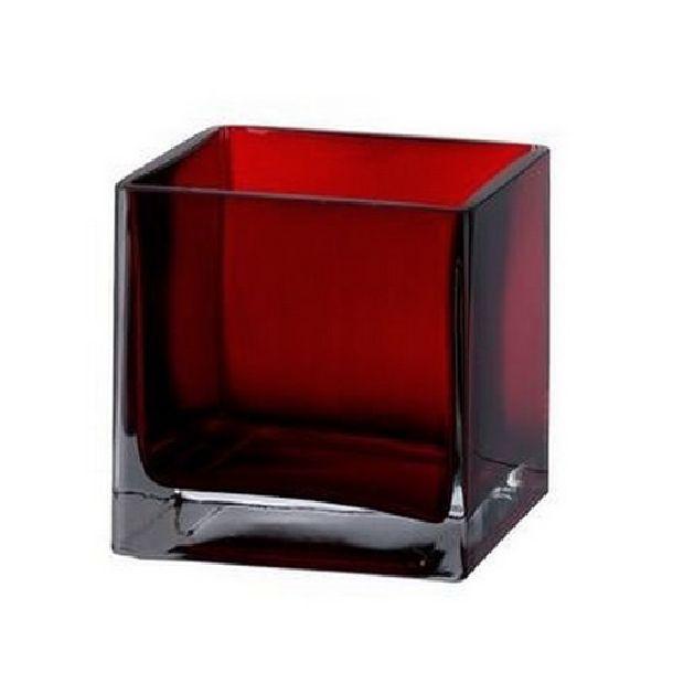 Achat vase en verre cubique rouge vaisselle 1001 deco table for Set de table pour table en verre