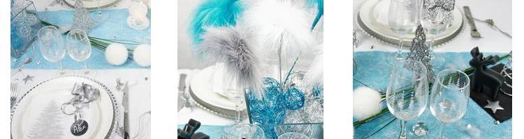 articles de deco de table de fetes en bleu turquoise et argent.