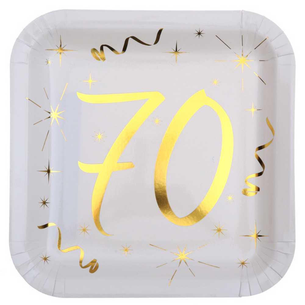 assiette anniversaire 70 ans achat assiette carton. Black Bedroom Furniture Sets. Home Design Ideas
