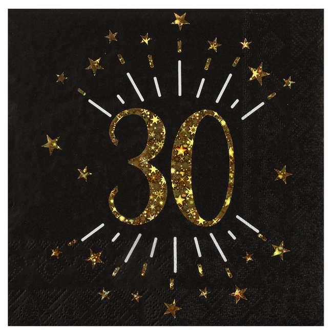 Serviette Papier Anniversaire 30 Ans Noir Et Or Decoration De Table