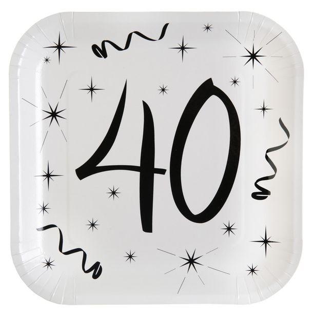 Assiette Anniversaire 40 Ans Achat Lot 10 Assiettes Carton Carree