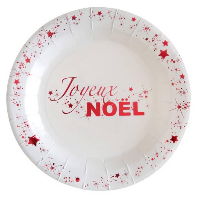 Achat Assiettes A Dessert Jetables Joyeux Noel Rouge