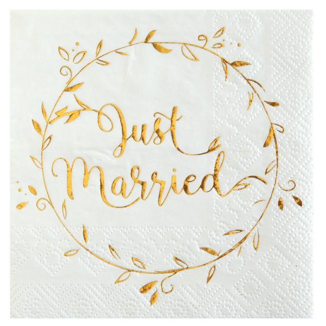 Serviettes Cocktail Mariage Blanc Et Or Metallise Pas Cheres