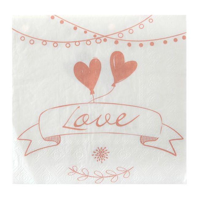 20 Serviettes En Papier Mariage Guinguette Chic