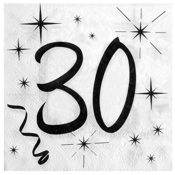 20 serviettes anniversaire 30ans 1001 d co table. Black Bedroom Furniture Sets. Home Design Ideas