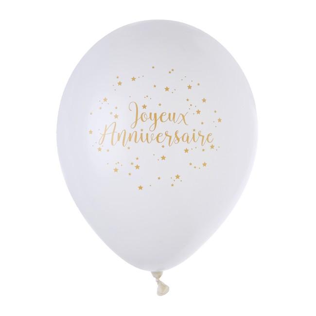 ec4fb7f7384b6d 8 Ballons blanc et or Joyeux Anniversaire