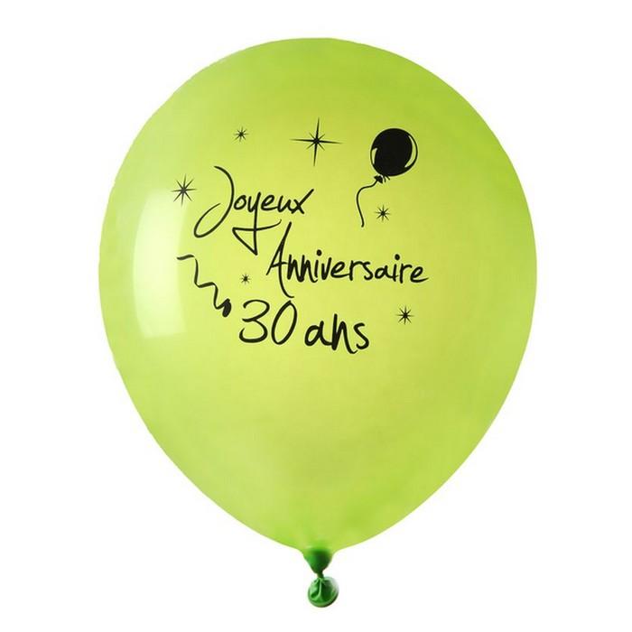 ballon joyeux anniversaire vert anis 30 ans x 8 1001 d co table. Black Bedroom Furniture Sets. Home Design Ideas