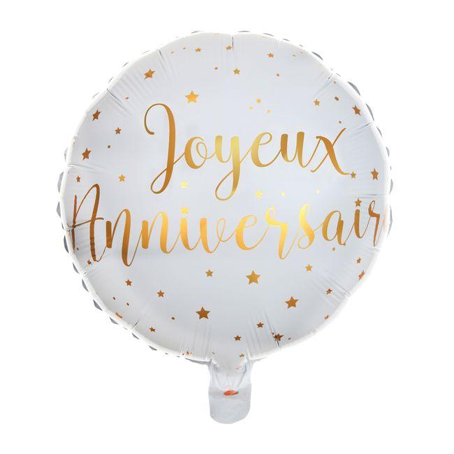 Ballon 35 Cm Blanc Et Or Joyeux Anniversaire