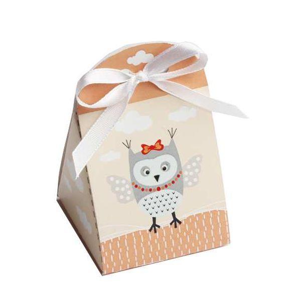 Achat ballotin drag es hibou abricot x10 contenants for Decoration porte hibou