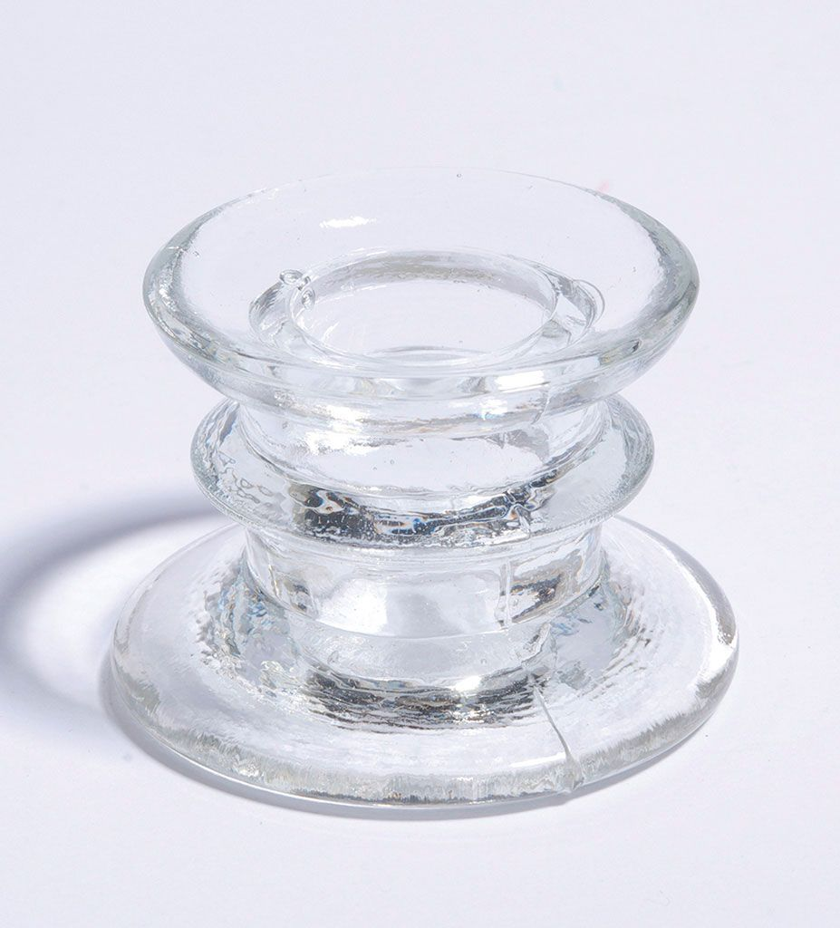 achat bougeoir verre transparent ht 4cm bougies leds photophores 1001 deco table. Black Bedroom Furniture Sets. Home Design Ideas