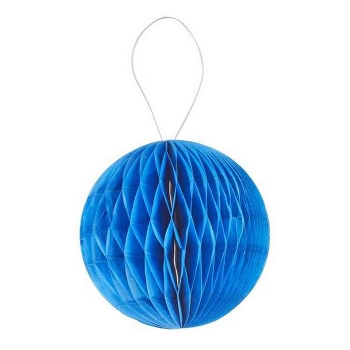 Boule Decoration.Boule Alvéolée 3d 8cm Bleu X4