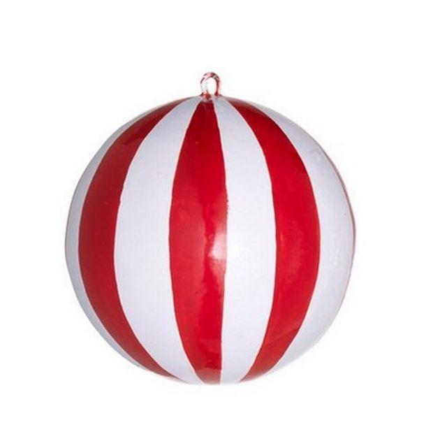 boule de no l ballon rouge et blanc 1001 d co table. Black Bedroom Furniture Sets. Home Design Ideas