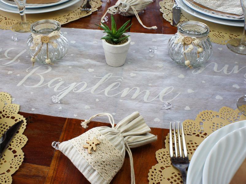 Chemin De Table Intisse Blanc Habillez Votre Table De Bapteme