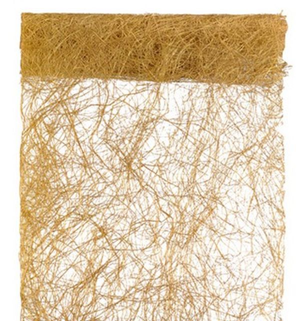 Vente chemin de table or en abaca 30cmx5 m tres nappes for Deco chemin de table