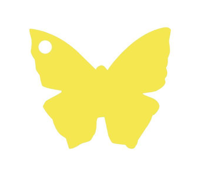 etiquette carton forme papillon jaune. Black Bedroom Furniture Sets. Home Design Ideas
