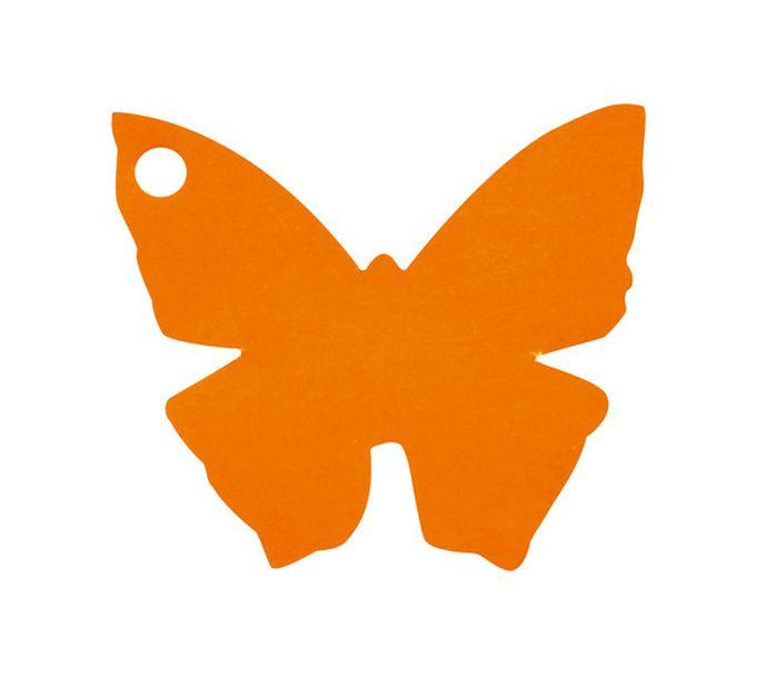 etiquette carton forme papillon orange. Black Bedroom Furniture Sets. Home Design Ideas