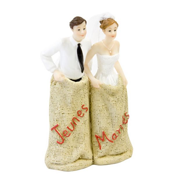 Figurine Couples Mariés Course En Sac 13 Cm