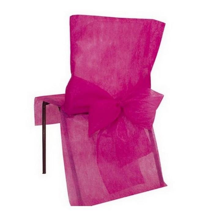10 housses de chaise jetables fuschia avec noeud 1001 deco table. Black Bedroom Furniture Sets. Home Design Ideas