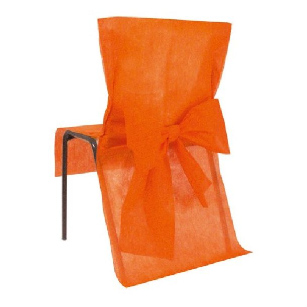 10 housses de chaise jetables orange avec noeud 1001. Black Bedroom Furniture Sets. Home Design Ideas