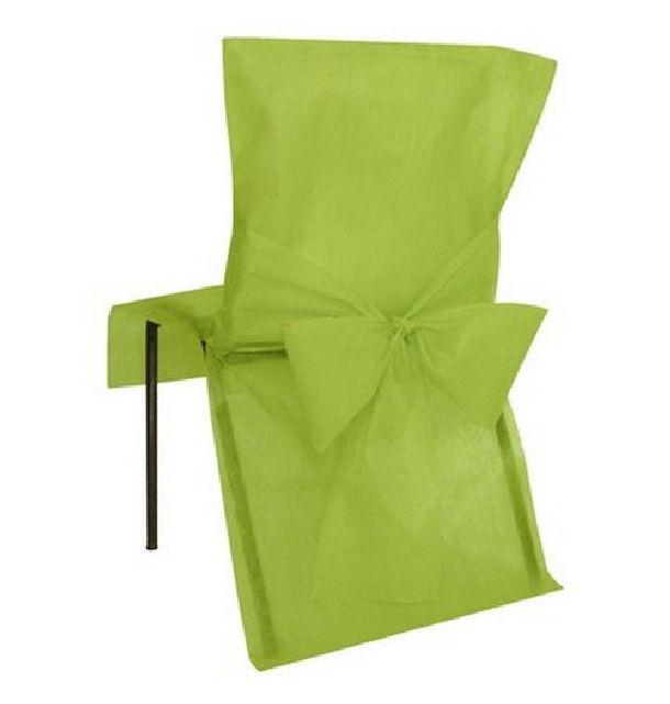 10 housses de chaise jetables vert anis avec noeud 1001. Black Bedroom Furniture Sets. Home Design Ideas